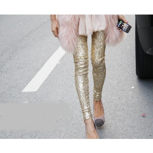 Fashion Women Bling Bling Legging Sequin Stretchy Leggings Slim Pencil Pants