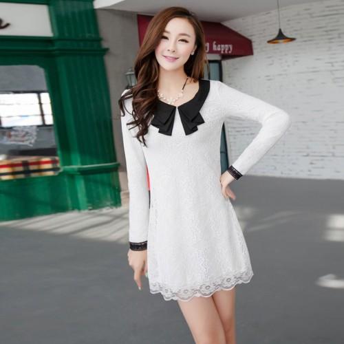 Women Lace Slim Long Sleeve Dress