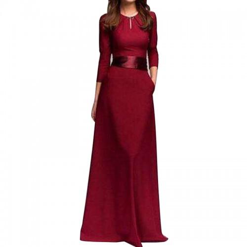 Floor-Length O-Neck Long Sleeve Dress