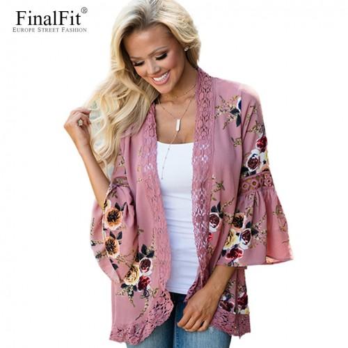 Floral Kimono Cardigan Chiffon Lace Trim Wrap Tops