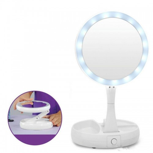 Foldable LED Makeup Mirror Professional 10X Magnifying Mirrors Desktop Mirror With Storage Box