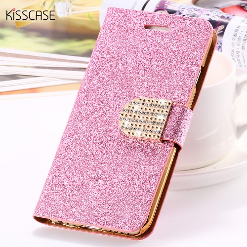 For iPhone 6 6S Plus 7 Plus Cover Glitter Bling Crystal Diamond Leather Wallet Case For Samsung Galaxy S6 Edge Plus S7 Edge Bags