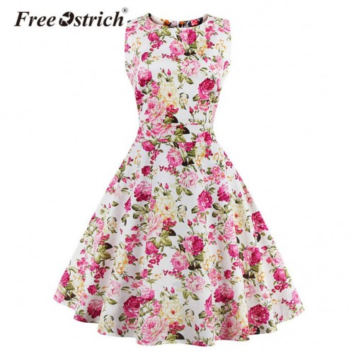 Summer Floral Printed Elegant Sleeveless Vintage Dress