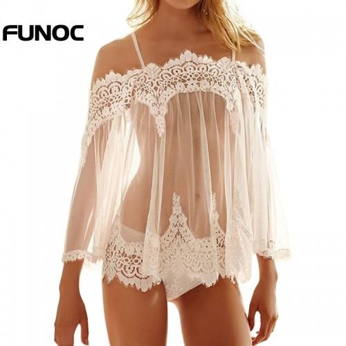 Babydoll See-through Nightwear Vestidos Crochet Lace Nightgown Lingerie Sleepwear