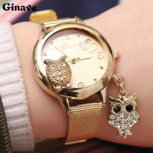 Fashion Owl Pendant Quartz  Stainless Steel Mesh Belt Ladies Wrist Watch