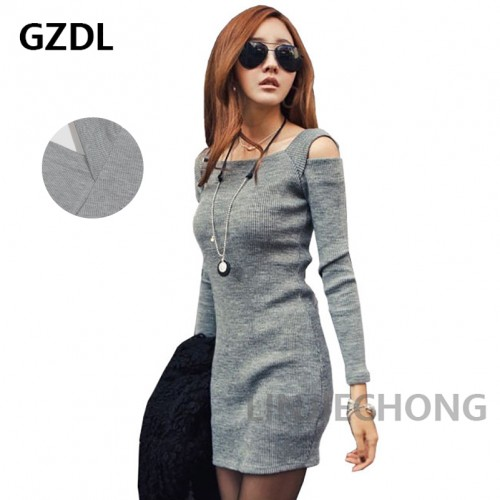 Casual Square Collar Women Long Sleeve Bodycon Knitted Female Pullover Dress