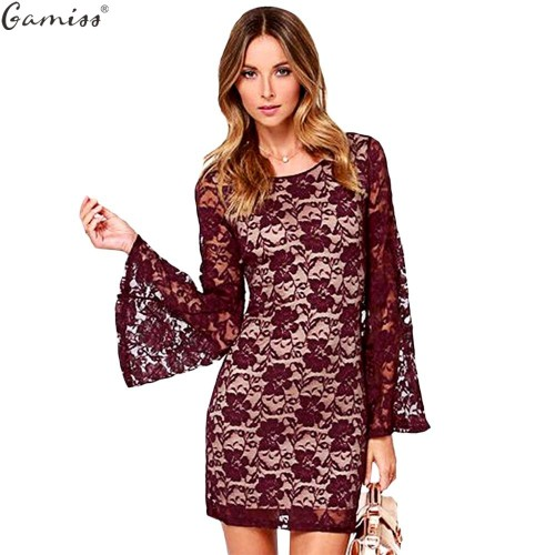 Women Long Sleeve Floral Backless Bodycon Dress