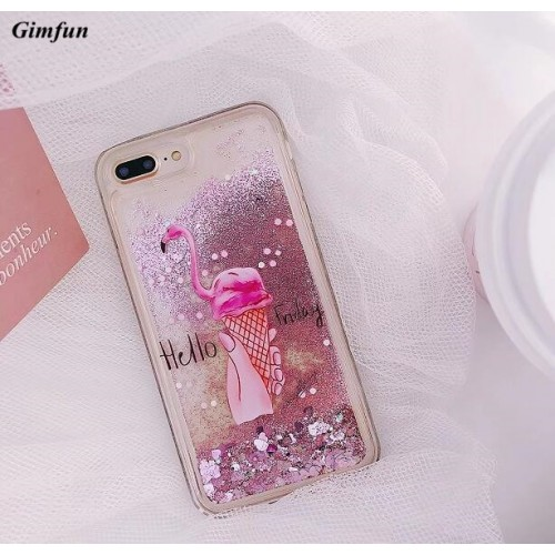Pink Transparent Liquid Flamingo Phone Case Cartoon Quicksand Soft Tpu Back Cover