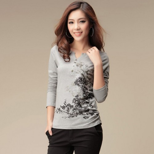 Graphic Casual Long Sleeve Printed Top T-Shirt