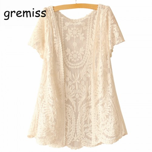Women Short Sleeve Crochet Net Lace Cardigan