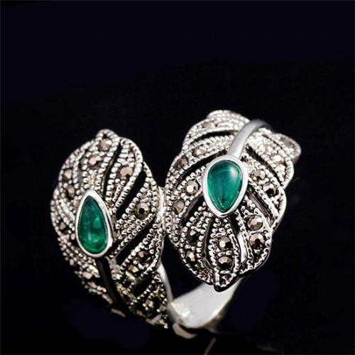 Vintage Jewelry Retro Silver Color Green Stone Leaf Open Cuff Cocktail Ladies Rings