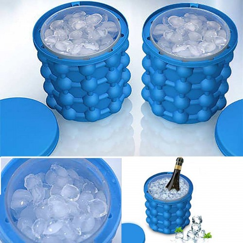 Lattices Silicone Ice Bucket Ice Cooler Cube Maker Cabinet Space Saving Kitchen Tool