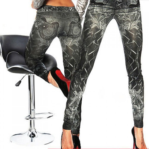 Womens Stretchy Denim Look Legging