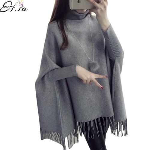 Batwing Poncho Turtleneck Women Sweater