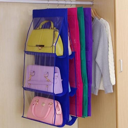Women Purse Handbag Hat Organizer Double Side Transparent 6 Pocket Foldable Wardrobe Closet