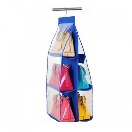 Women Purse Handbag Hat Organizer Double Side Transparent 6 Pocket Foldable Wardrobe Closet