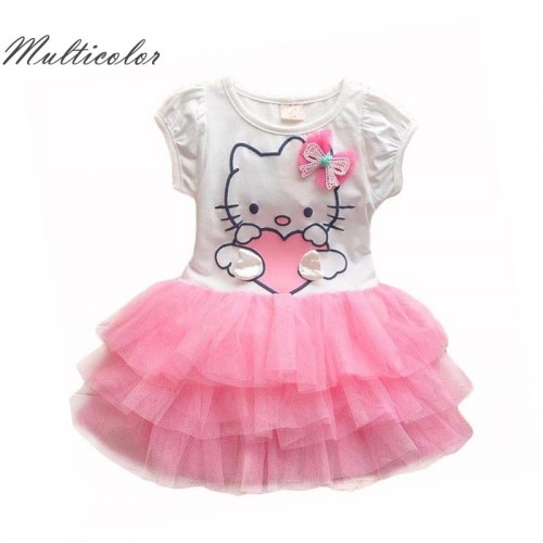 Hello Kitty Girls Dresses Summer Cartoon Wings Tutu Dress For Girls