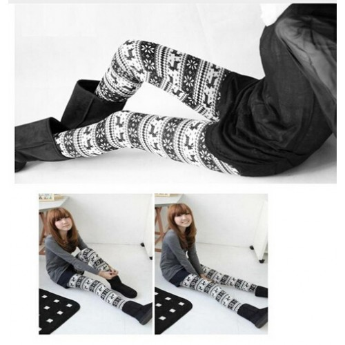 Women Knitted Snowflakes Deer Legging