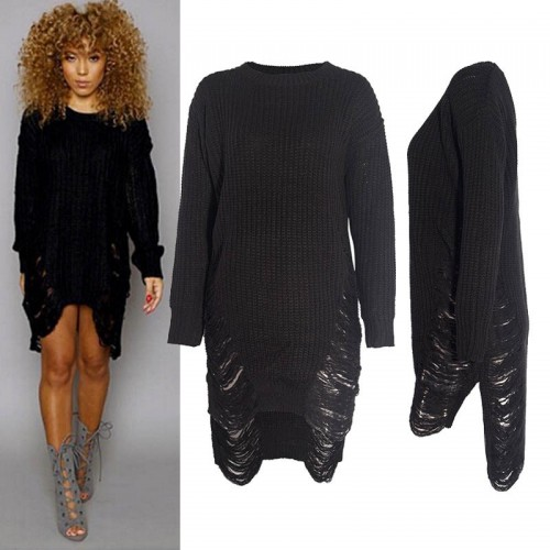 Hollow Out Long Sleeve Knitting Casual Sweaters