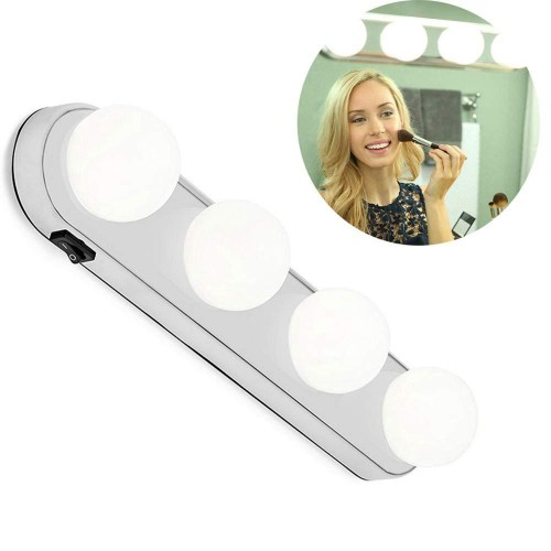 Portable LED Mirror Light 4 Bulb Makeup Night Light Vanity Light Easy Installed Makeup Lamp