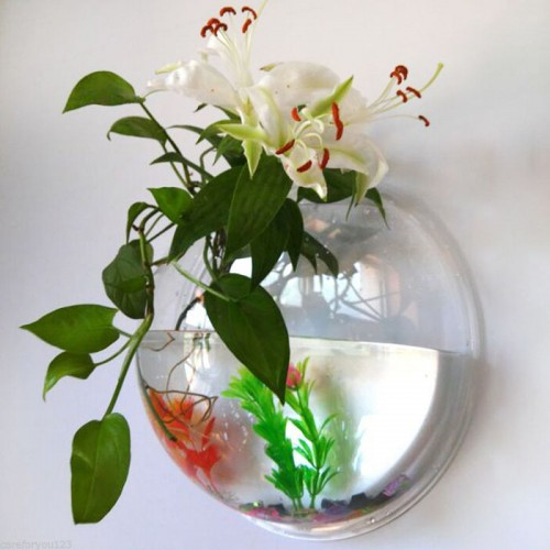 Wall Hanging Vase Hydroponic Terrarium Fish Tank Plant Flower Home Decor