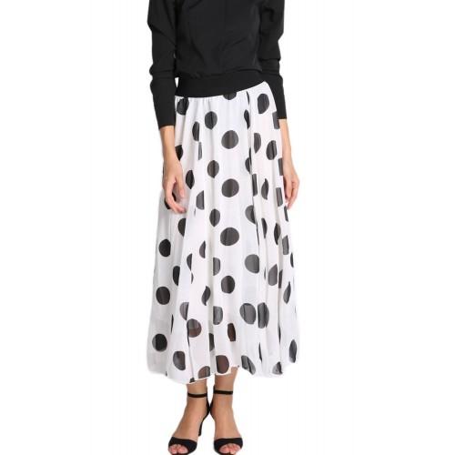 Chiffon Long Skirt Polka Dot Floor-length Skirt