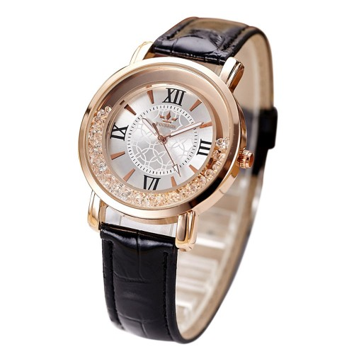 Ladies Fashion Quartz Women Rhinestone Leather Casual Watch