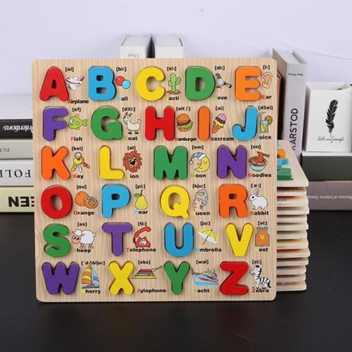 Montessori Materials Capital Lowercase Alphabet Learning Board Puzzle Toys