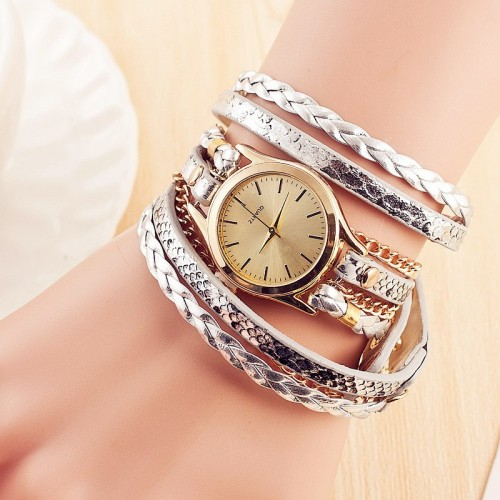 Fashion Retro Weave Bracelet Leather Quartz Watch