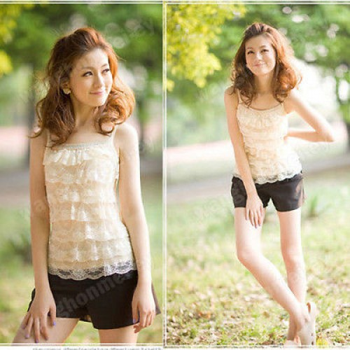 Loose Casual Lace Sleeveless Vest Shirt