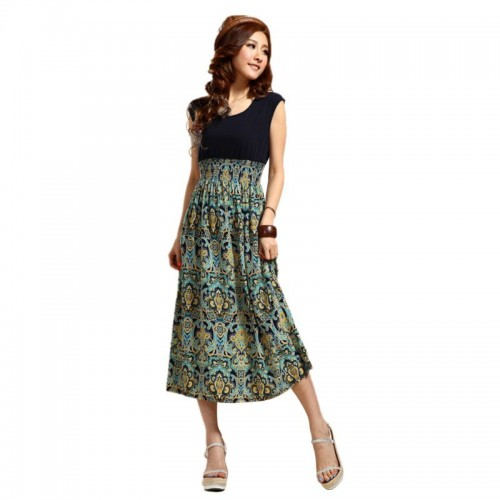 Casual Bohemian Vintage Printed Patchwork Dress