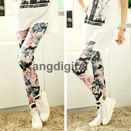 Womens Retro Flowers Floral Printed Legging