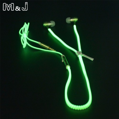 Glowing Earphone Luminous Light Metal Zipper Earbuds Glow In The Dark For Iphone Samsung Xiaomi MP3 With Mic