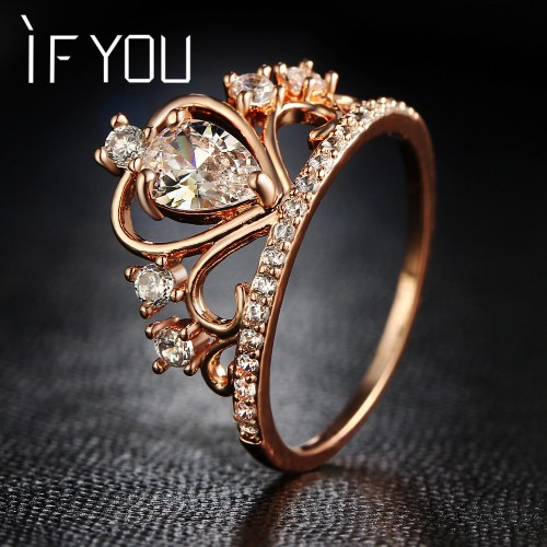 Crown Rings For Women Rose Gold Color Cubic Zirconia Crystal Fashion Engagement Wedding Rings