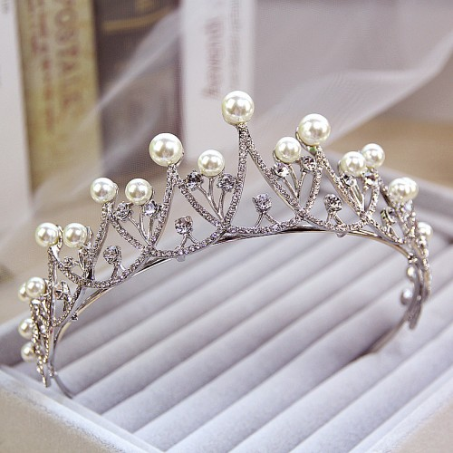 Crystal Pearl Wedding Bridal Rhinestone Tiara Crown