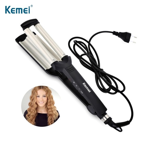 KEMEI Professional Hair Curler With 3 Barrels Big Wave Curling Iron Ceramic Hair Styling Tool