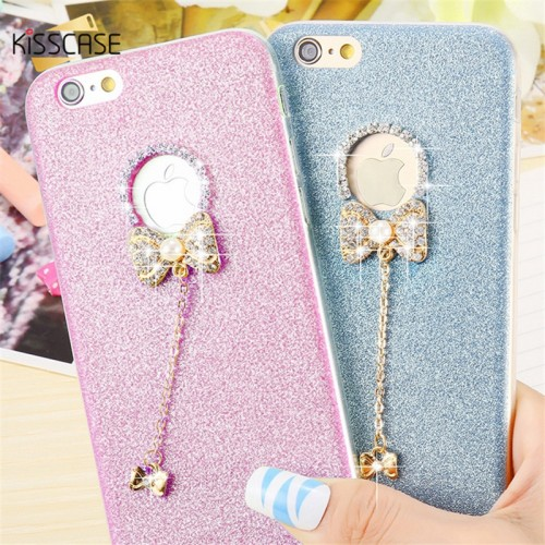 KISSCASE Lovely 3D Glitter Diamond Rhinestone Butterfly Silicone Case For iPhone