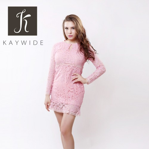 Lace Patchwork Women Long Sleeve Hollow Out Dress