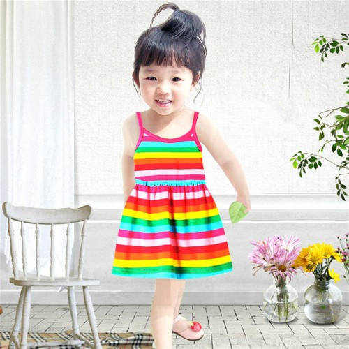 Kids Dresses For Girls Girl Dress 2017 New Baby Girl Children Summer European Simple Cotton Vest Dress Striped Rainbow Princess