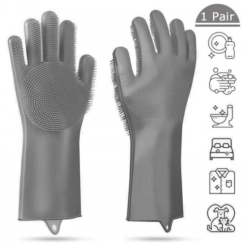 1 Pair Kitchen Magic Silicone Dishwashing Gloves Cleaning Scrub Sponge Scrubbing