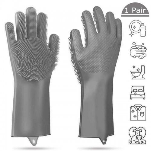 1 Pair Kitchen Magic Silicone Dishwashing Gloves Cleaning Scrub Sponge Scrubbing