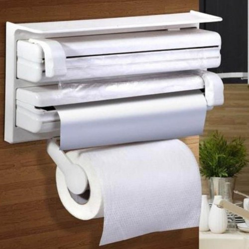 Kitchen Roll Towel Paper Holder Dispenser Cling Film Wall Mounted Shelf Rack Towel Rack Bathroom Accessories Shelf Organizer