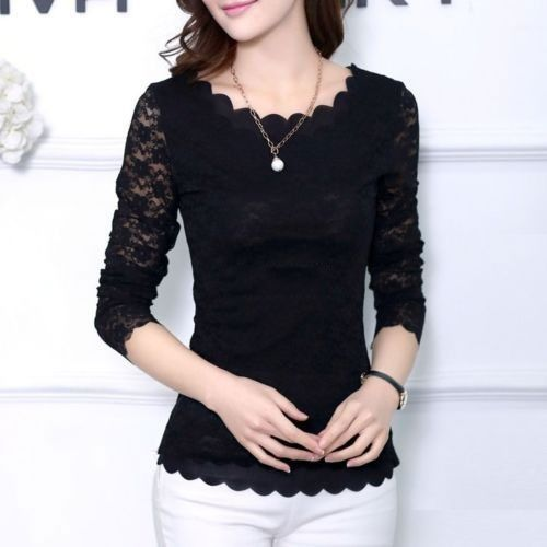 Long Sleeve Lace Shirt Blouse