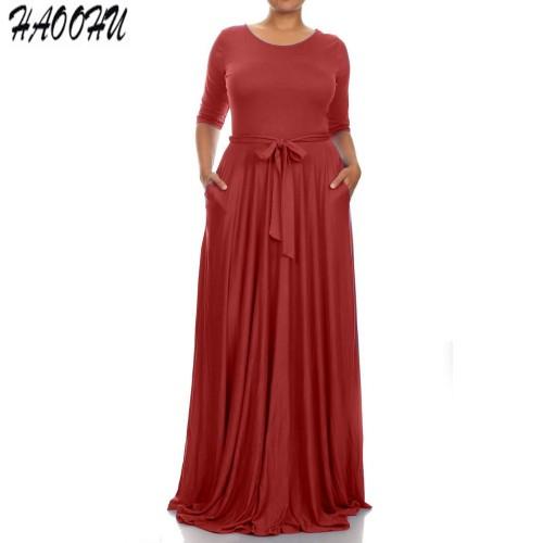 Women O-neck long sleeve Loose Sash long dress