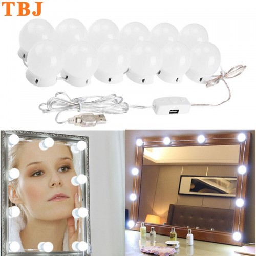 LED USB Vanity Mirror Lights Kit Hollywood Style 10 Dimmable Bulbs 3 Color Temperature Modes