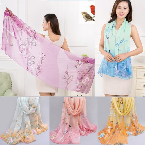 Fashion New Thin Women Long Soft Wrap Lady Shawl Silk Chiffon Scarf Magpie Printed Scarves