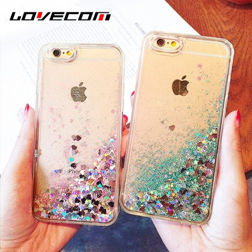 LOVECOM For Iphone Phone Cover Love Hearts Glitter Stars Dynamic Liquid Quicksand TPU Cases