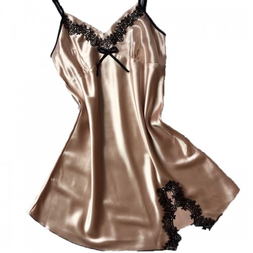 Silk Satin Sleeveless V-neck Nightgown