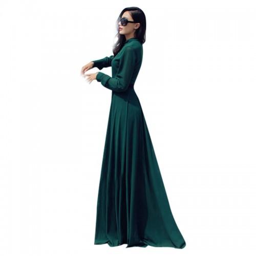 Green Chiffon Cocktail Long Maxi Dress
