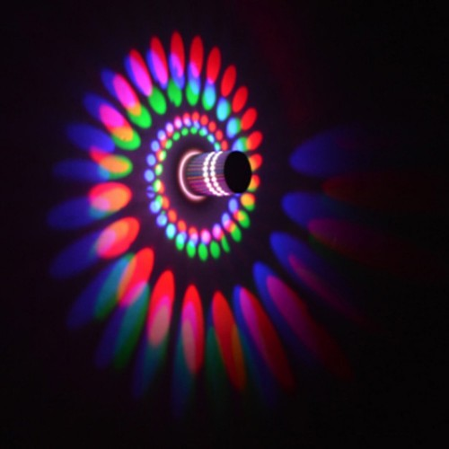 Led Wall Light Wall Lamp Spiral Effect  With Controller 3W Color For Modern Decoration